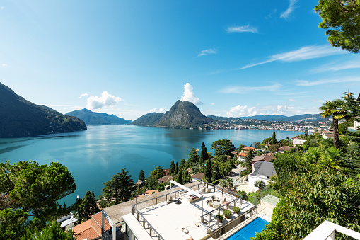Balcony overlooking Lake Lugano on a summer day
