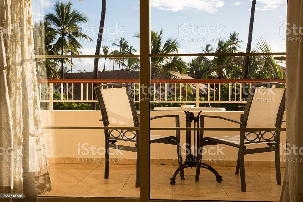 balcony through the sliding glass door royalty-free stock photo