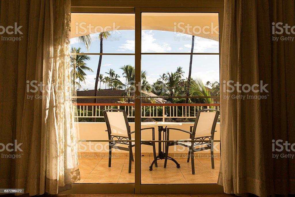 Balcony Through The Sliding Glass Door Stock Photo More Pictures