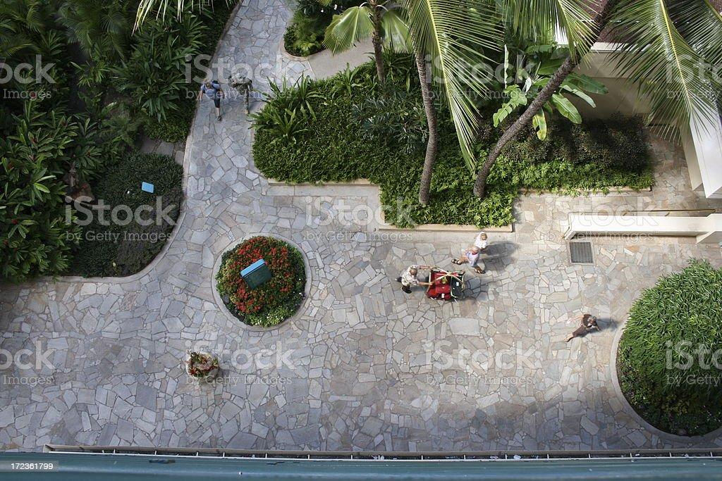 Balcony view from Resort Hotel, Waikiki royalty-free stock photo
