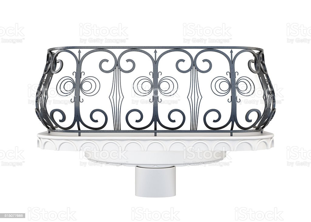 Balcony with a decorative railing isolated on white background stock photo