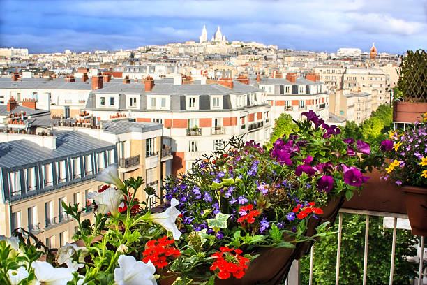 balcony with an awesome view of paros - montmatre utsikt bildbanksfoton och bilder