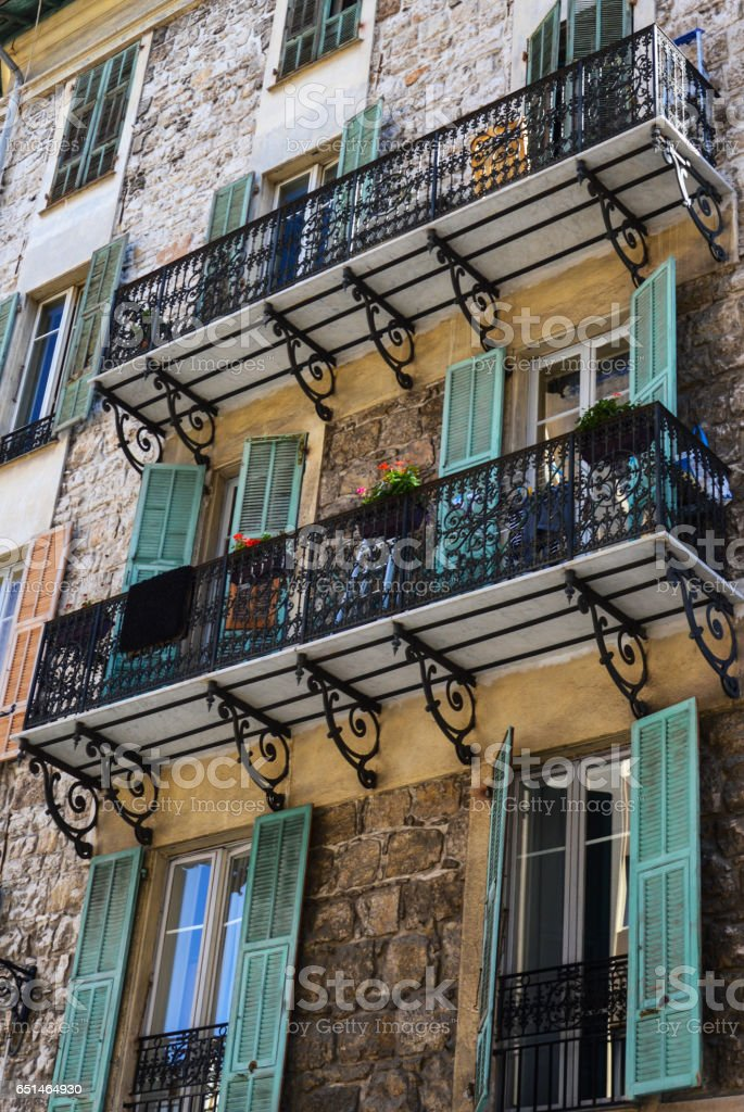 Balcony with flowers in Florence Italy stock photo