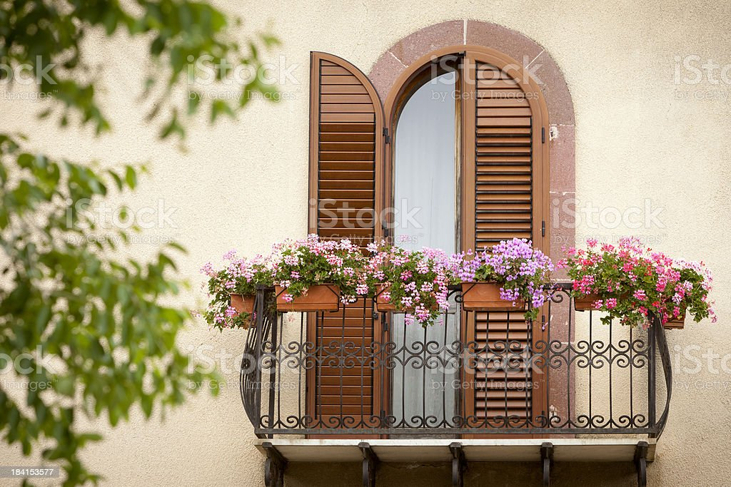 balcony with flowers. stock photo