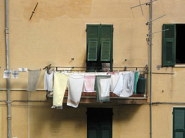 Balcony with laundry in South Italy stock photo