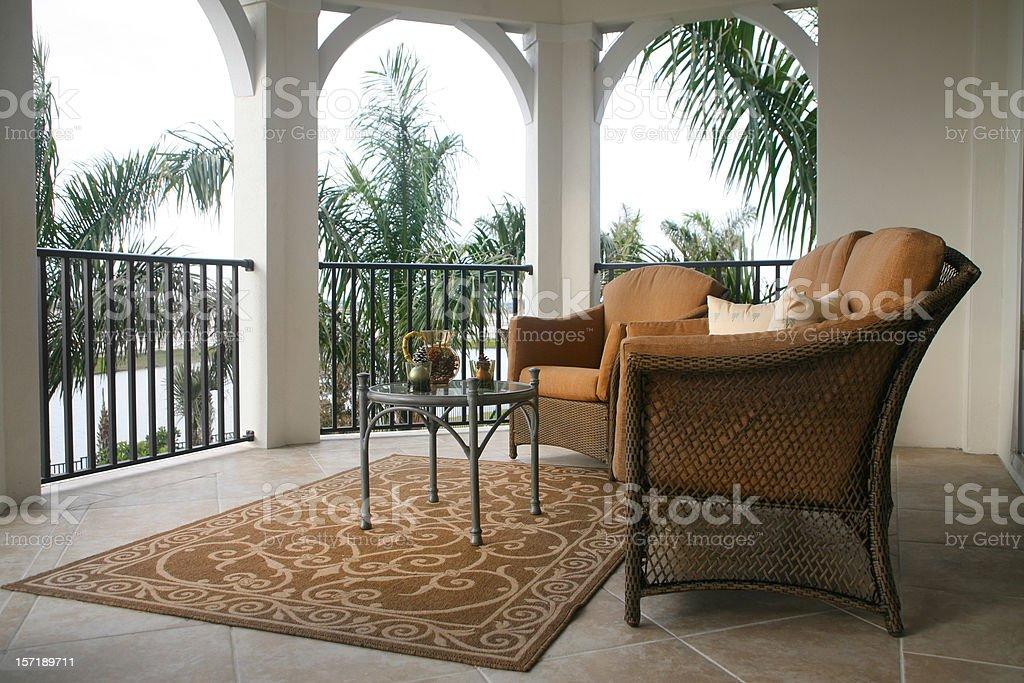 Balcony with Palm Trees royalty-free stock photo