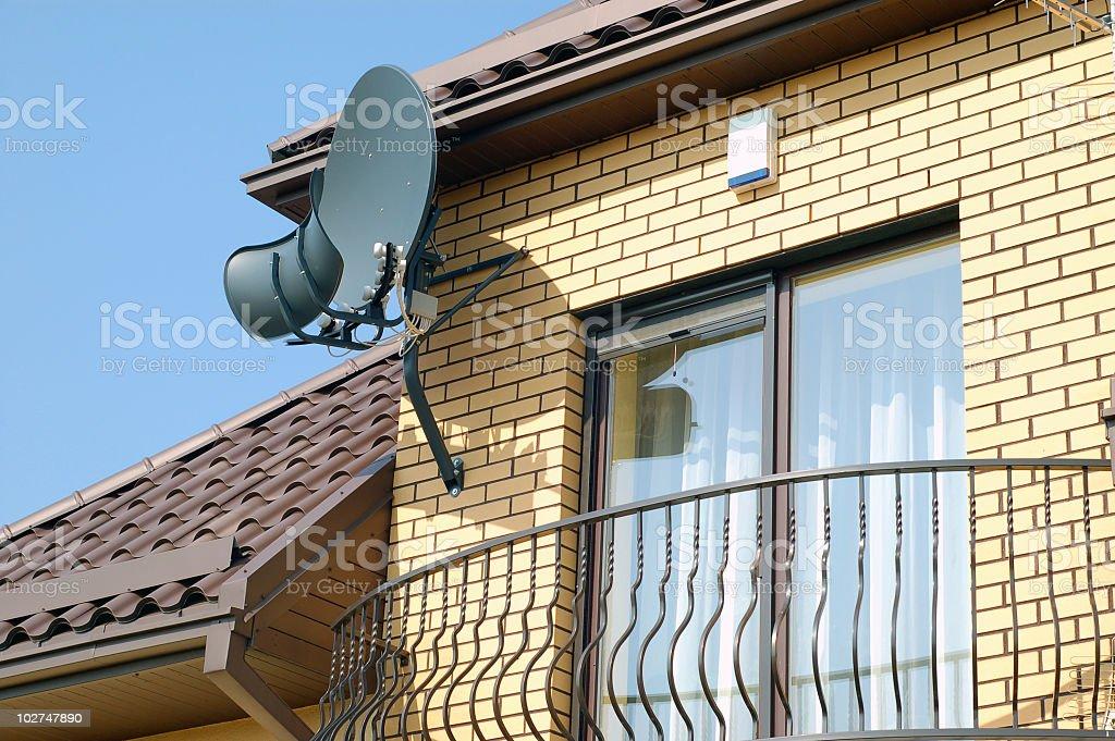 Balcony with satelite antenna royalty-free stock photo
