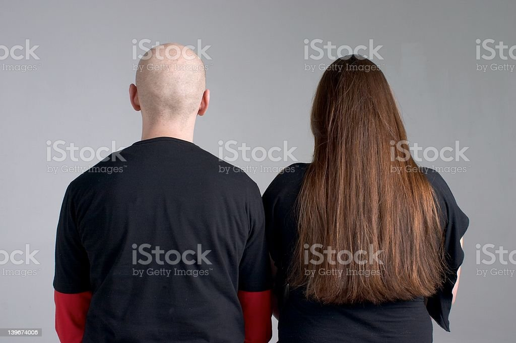 bald and hairy stock photo