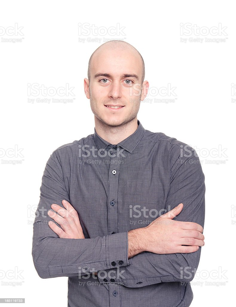 Bald executive business man on white stock photo