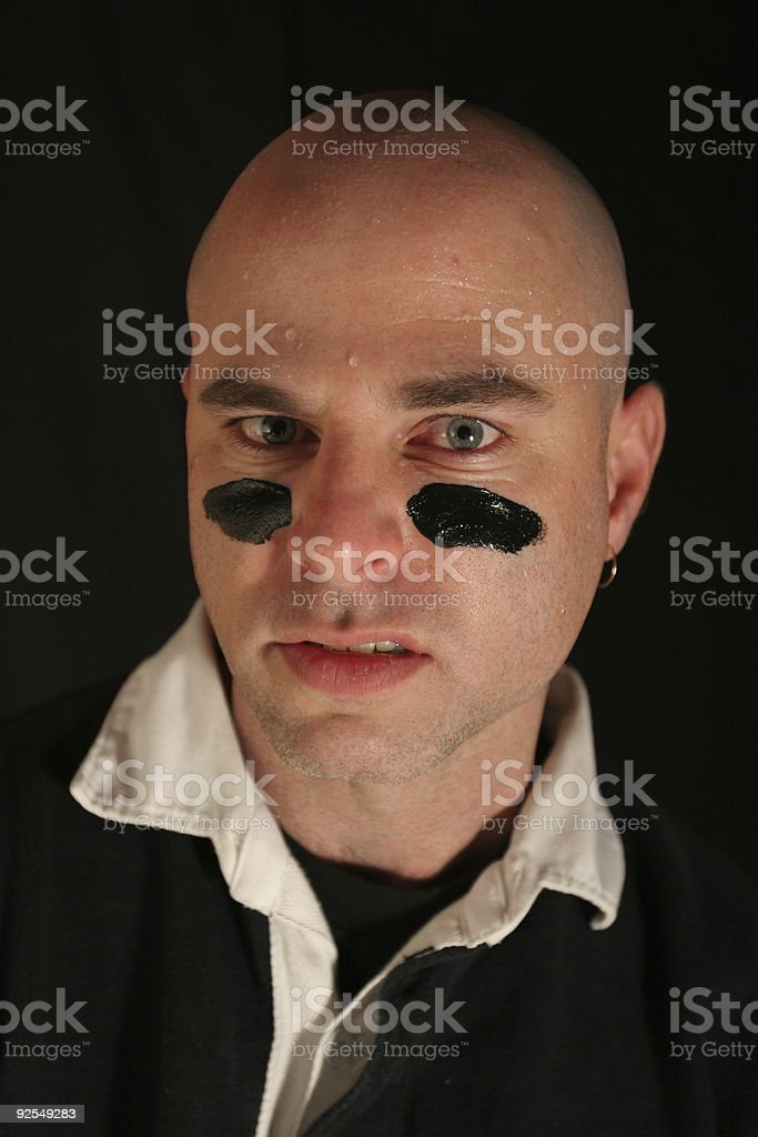 Bald, Intense Sports Guy royalty-free stock photo