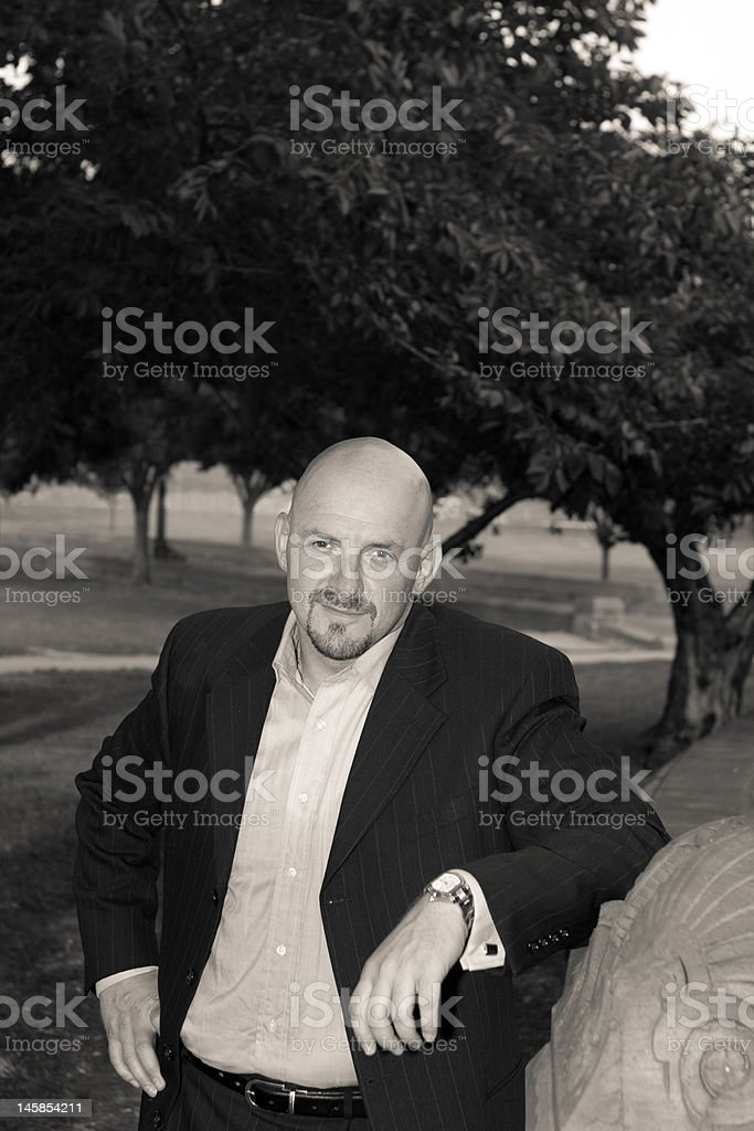 Bald Man Goatee In a Park, Black and White royalty-free stock photo