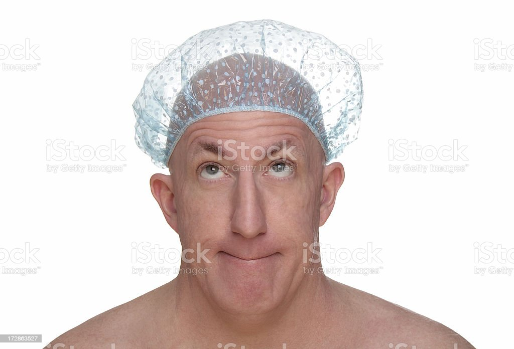 Bald Man In A Shower Cap stock photo