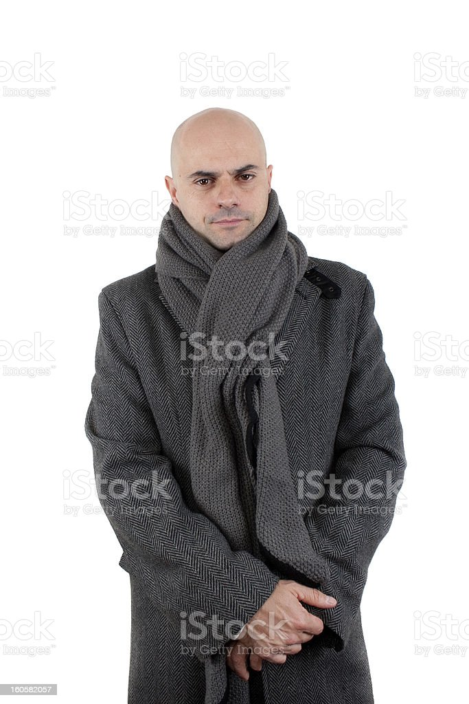 Bald man in tweed coat and scarf royalty-free stock photo