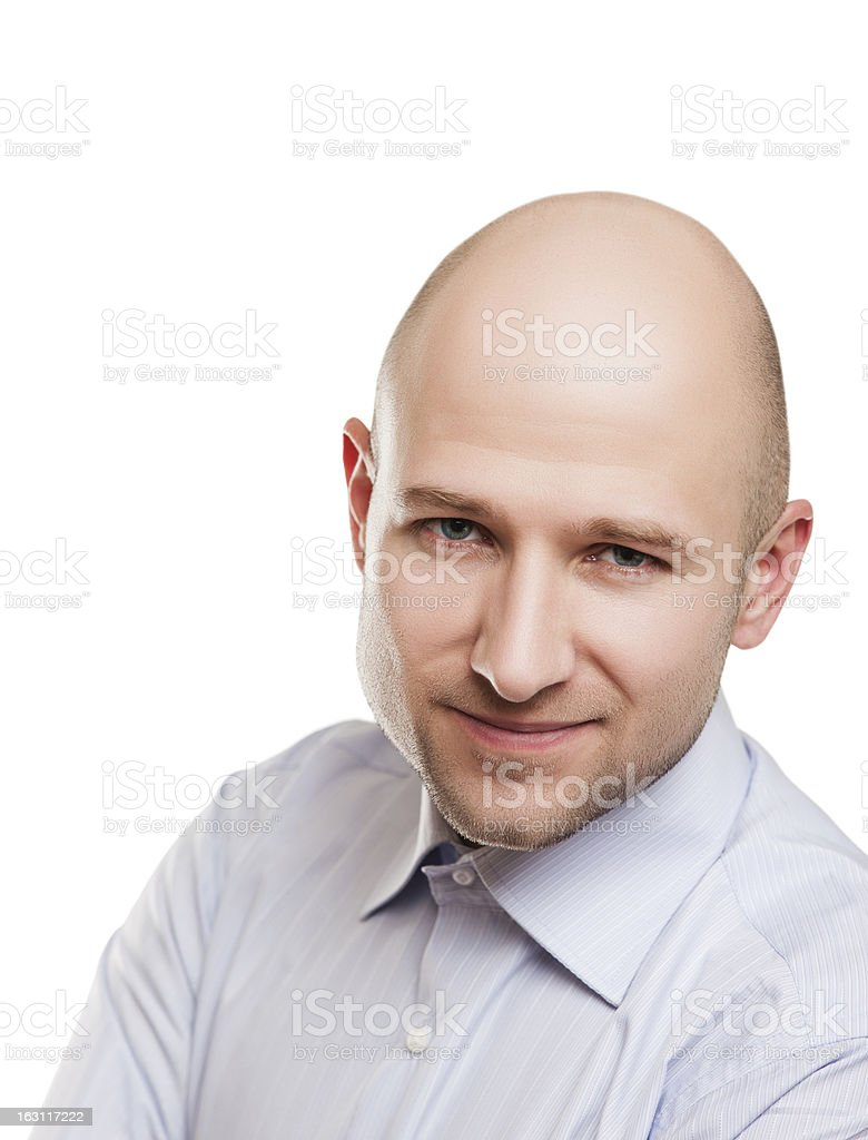 Bald man portrait stock photo
