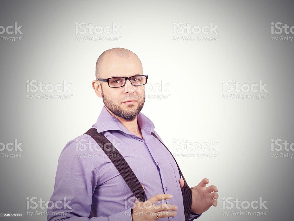 Glatze Mann Mit Bart In Shirt Mit Hosenträger Stockfoto Istock