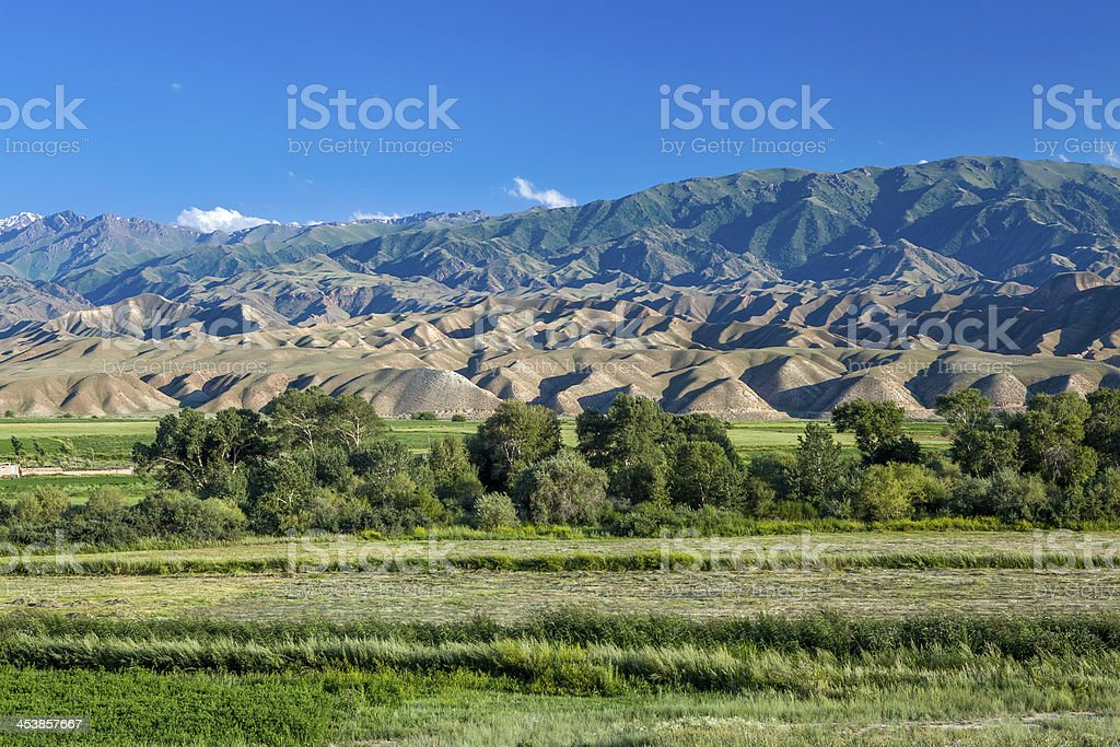 Bald mountains in Kyrgyzstan stock photo