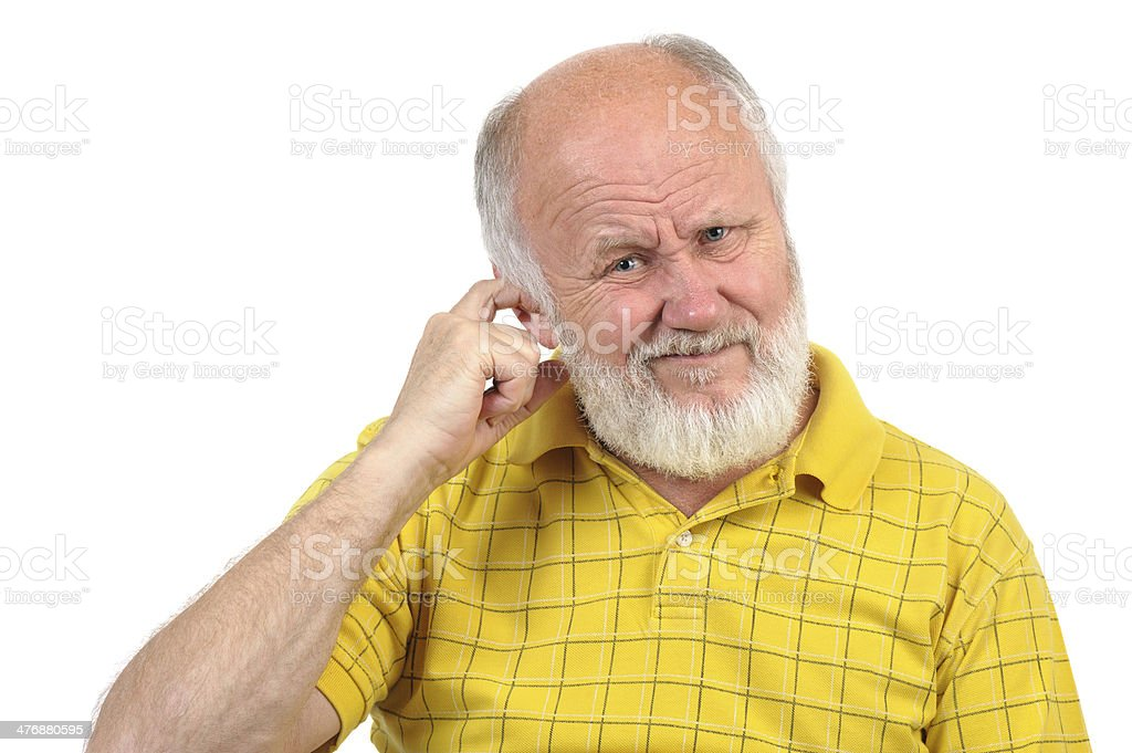 bald senior man feeling doubt stock photo