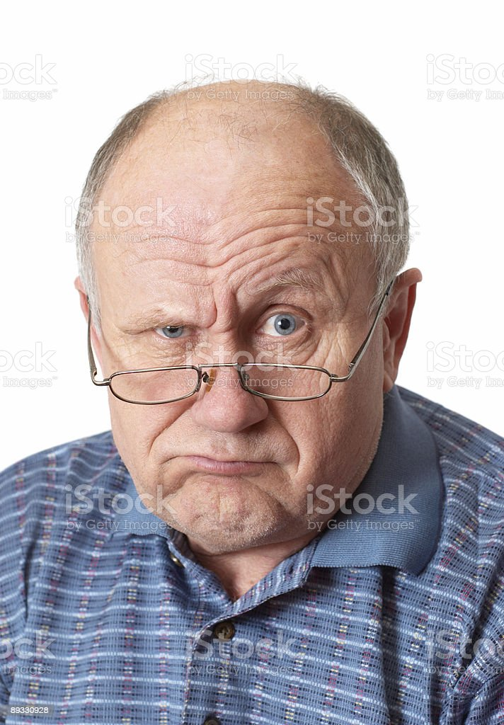 Bald senior man fooling around. royalty-free stock photo