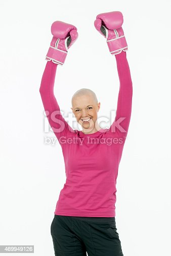 istock Bald Woman in Pink with Boxing Gloves 469949126