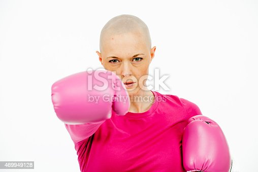 istock Bald Woman in Pink with Boxing Gloves 469949128