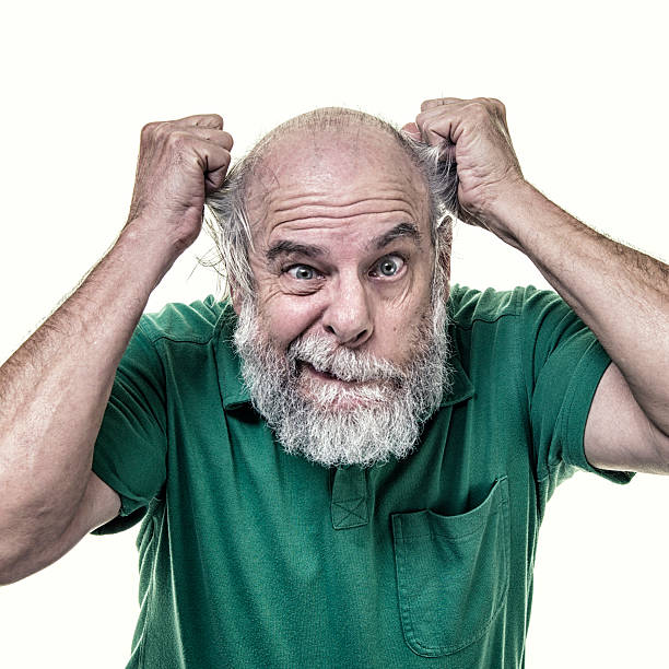 Balding Frustrated Senior Business Man Tearing His Hair Out A frustrated, completely stressed out, small business person senior adult man is tearing his hair out by pulling at the sides of his balding head with his clenched fists and fingers. He has a humorous, exaggerated angry, manic facial expression with staring green eyes on his full beard and mustached face. He is casually dressed wearing a green pullover polo shirt with collars and a front chest pocket. clenching teeth stock pictures, royalty-free photos & images