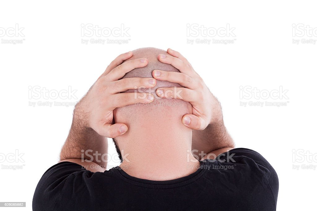 Balding Man Grieving stock photo