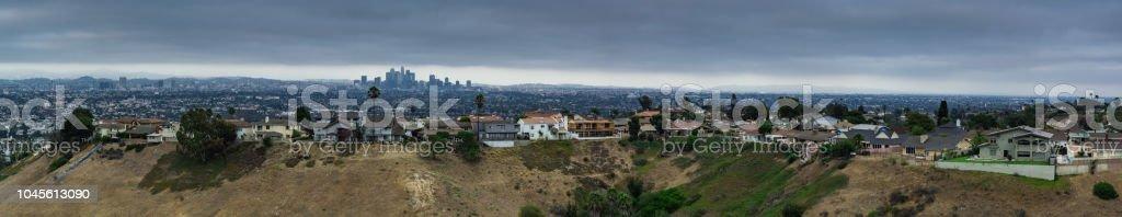 Baldwin Hills and DTLA - Aerial Panorama stock photo