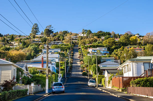 Baldwin Street which is located in Dunedin,New Zealand stock photo