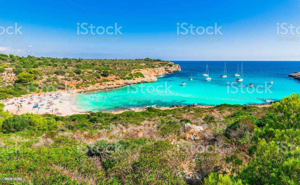 バレアレス諸島のマヨルカ島スペイン地中海湾カラ Varques の美しい ...