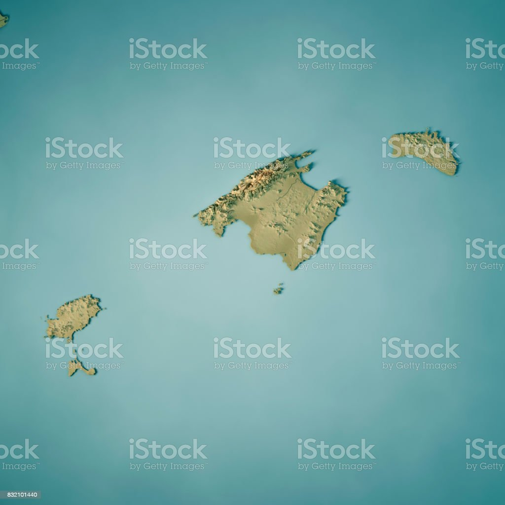 Balearic Islands Spain 3d Render Topographic Map Stock Photo More
