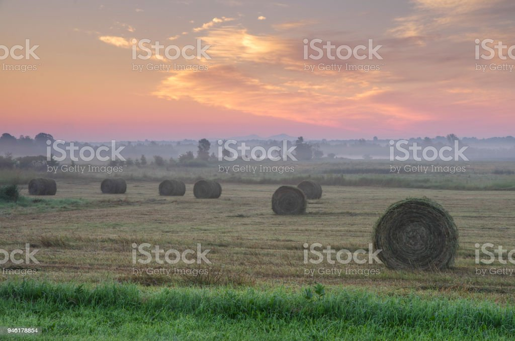 Bales Of Hay Waking Up To The Morning Sun Stock Photo More