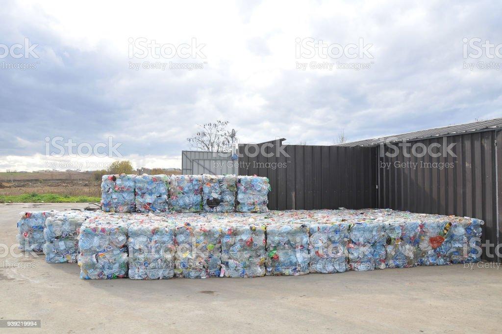 Bales of waste plastic bottles stock photo