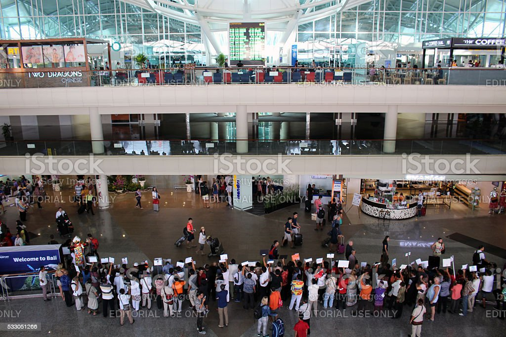 Bali airport arrivals hall stock photo