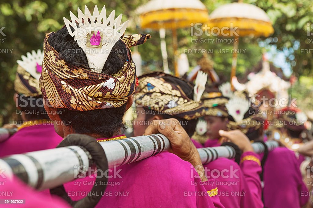 Bali background. Balinese people in traditional costumes stock photo