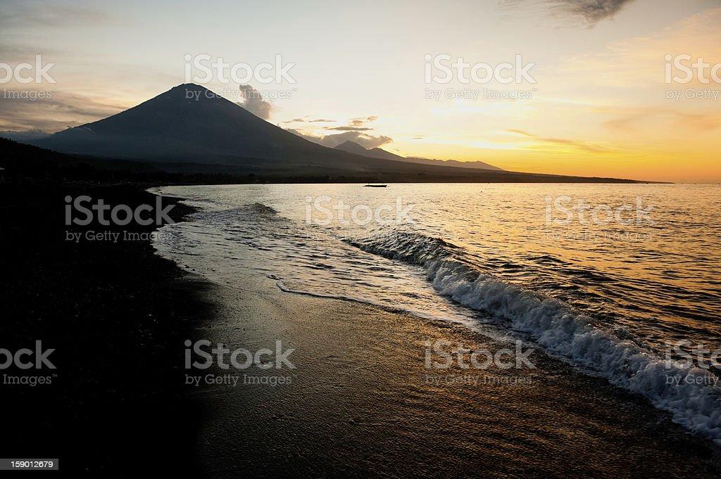 Bali Beach and Mt. Agung stock photo