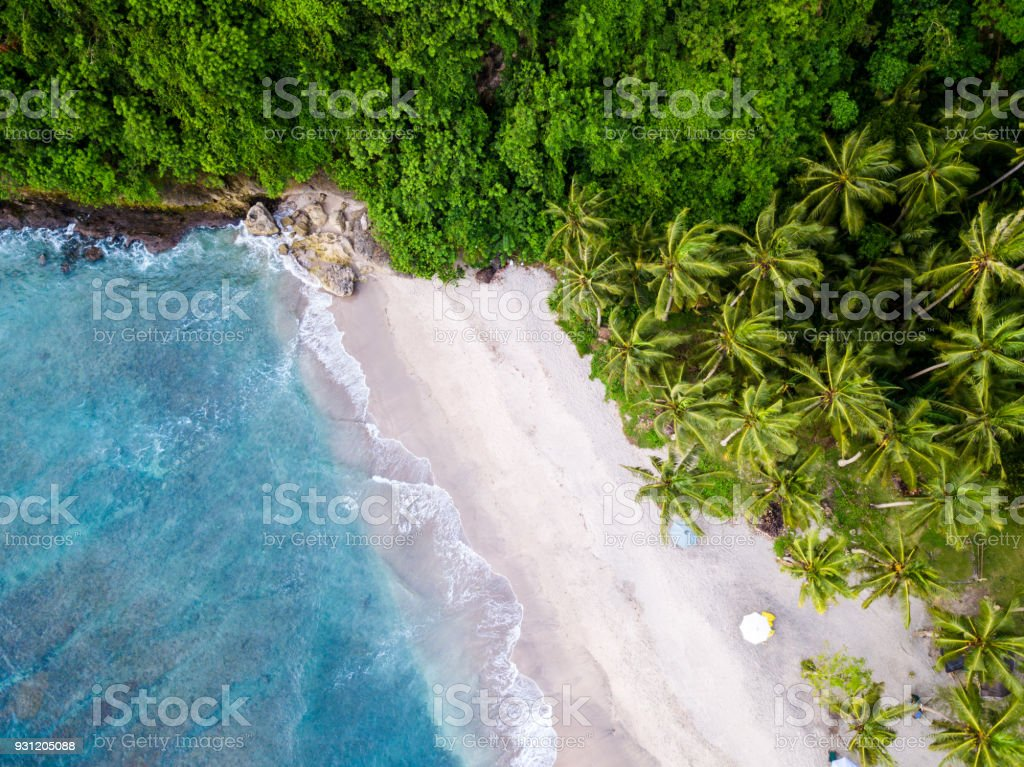 Bali - beach from above. Straight drone shot stock photo
