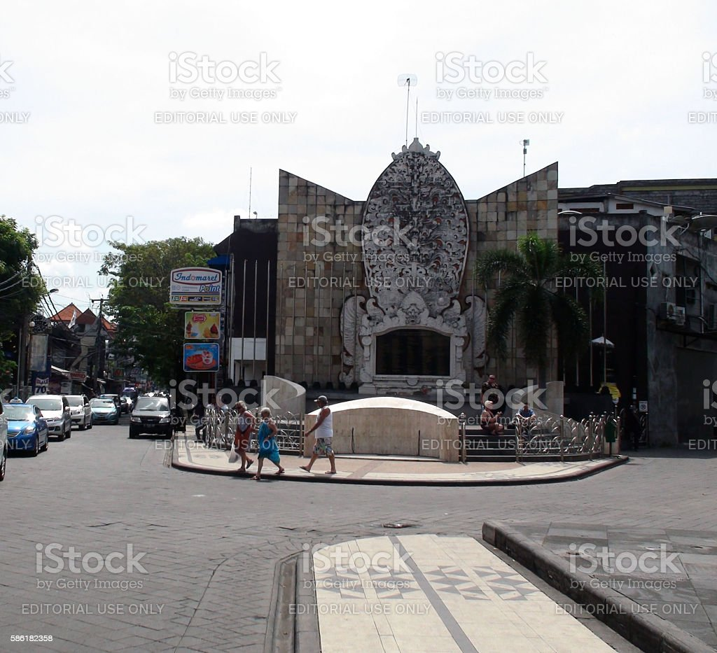 Bali Bombing Memorial Building Exterior And People.Indonesia stock photo