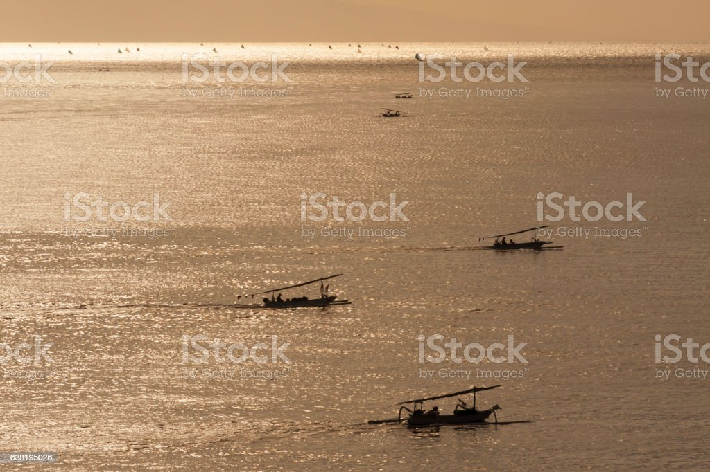 Bali Fishing Boats at Dawn stock photo