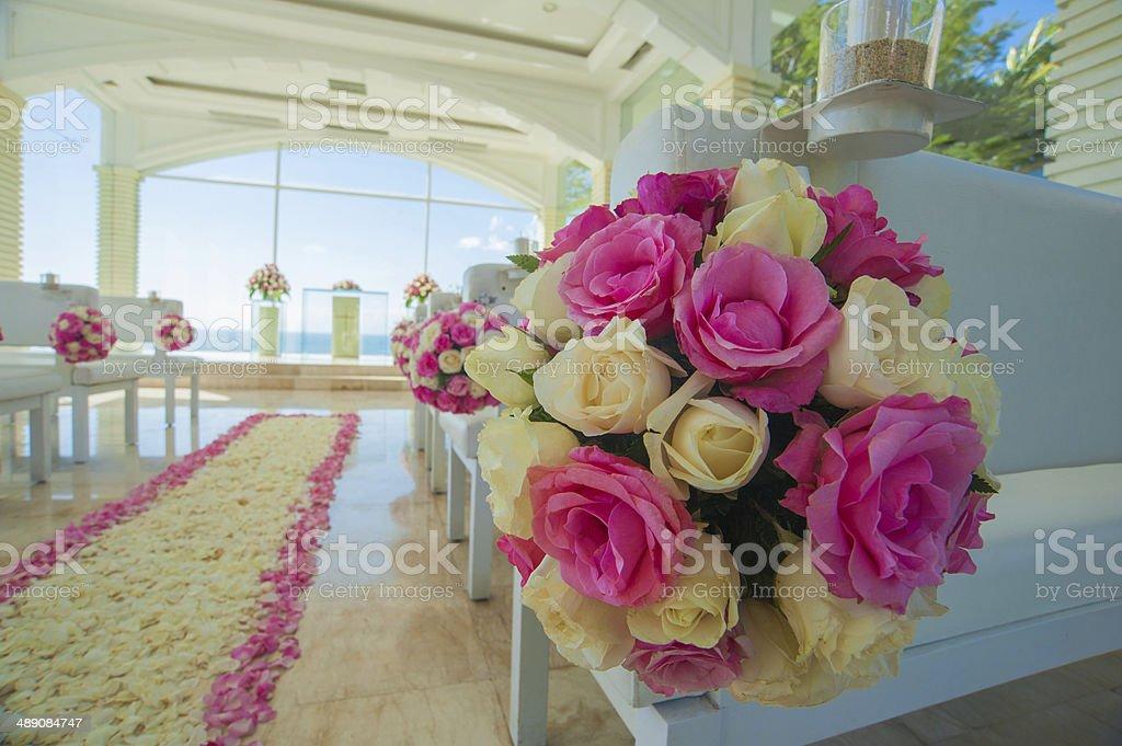 bali glass church wedding stock photo