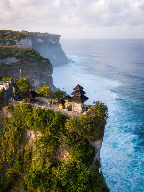 Bali, Indonesia, Aerial View of Uluwatu Temple at Sunrise stock photo
