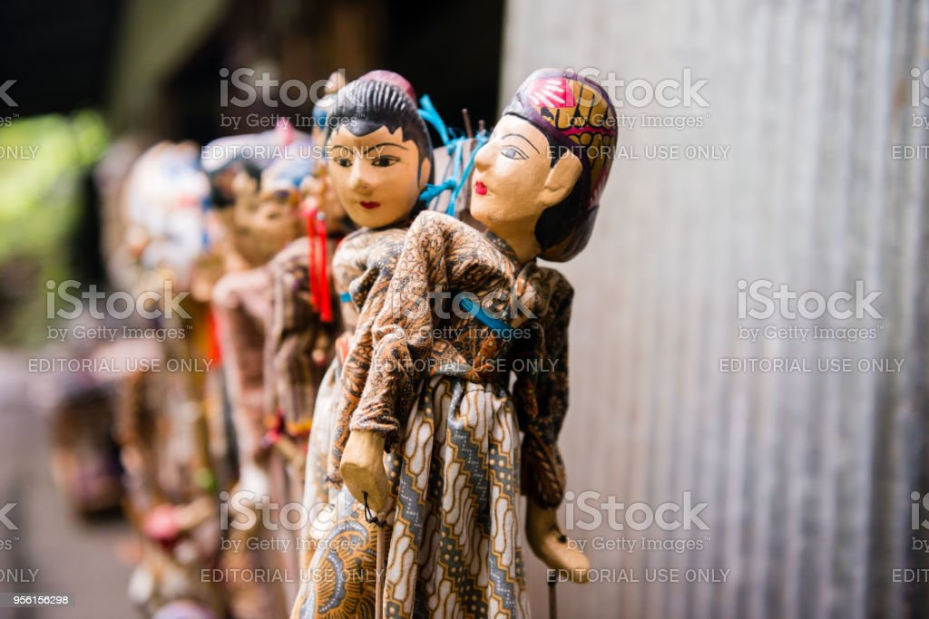 Bali Indonesia Hand Carved Wooden Puppets Displayed in Gitgit stock photo