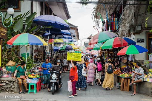 Bali, Indonesia, Sept 20, 2019 Crowded market at Ubud city colorful