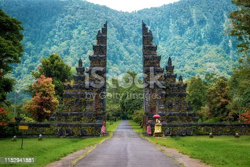 Bali, Indonesia, traditional Balinese architecture, view of landmark temple gates in Northern Bali.