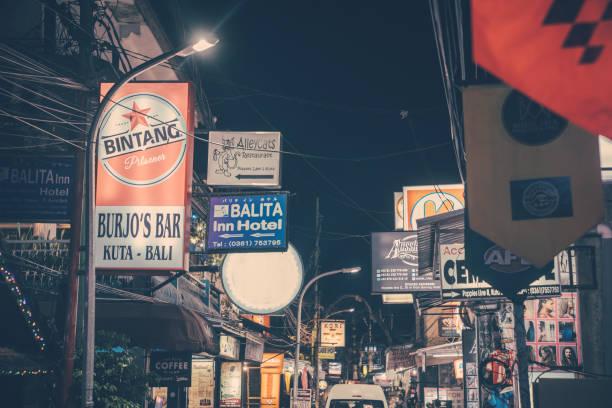 Bali, Kuta streets at night stock photo
