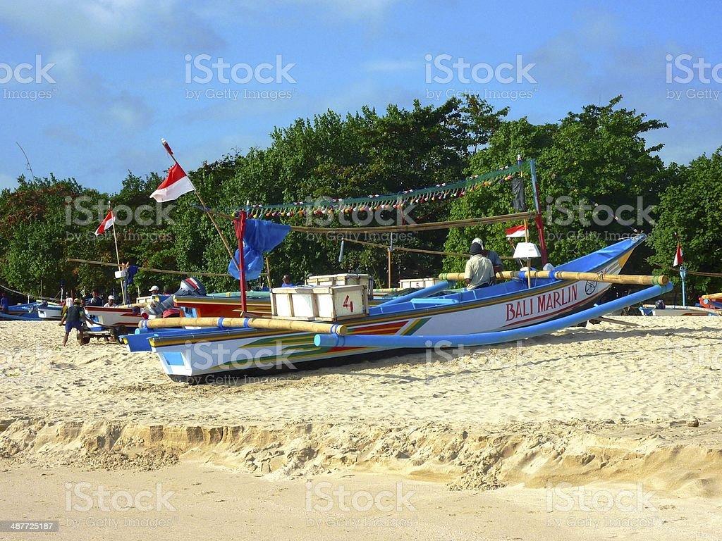 Bali Marlin, fishermen boat in Jimbaran stock photo