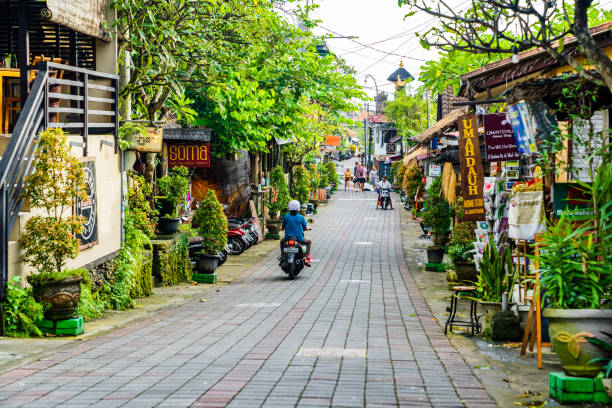 Bali, one of the central streets of Ubud, full of bars, restaurants and stores. stock photo