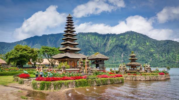 Bali Pura Ulun Danu Bratan Hindu Temple Panorama Indonesia stock photo