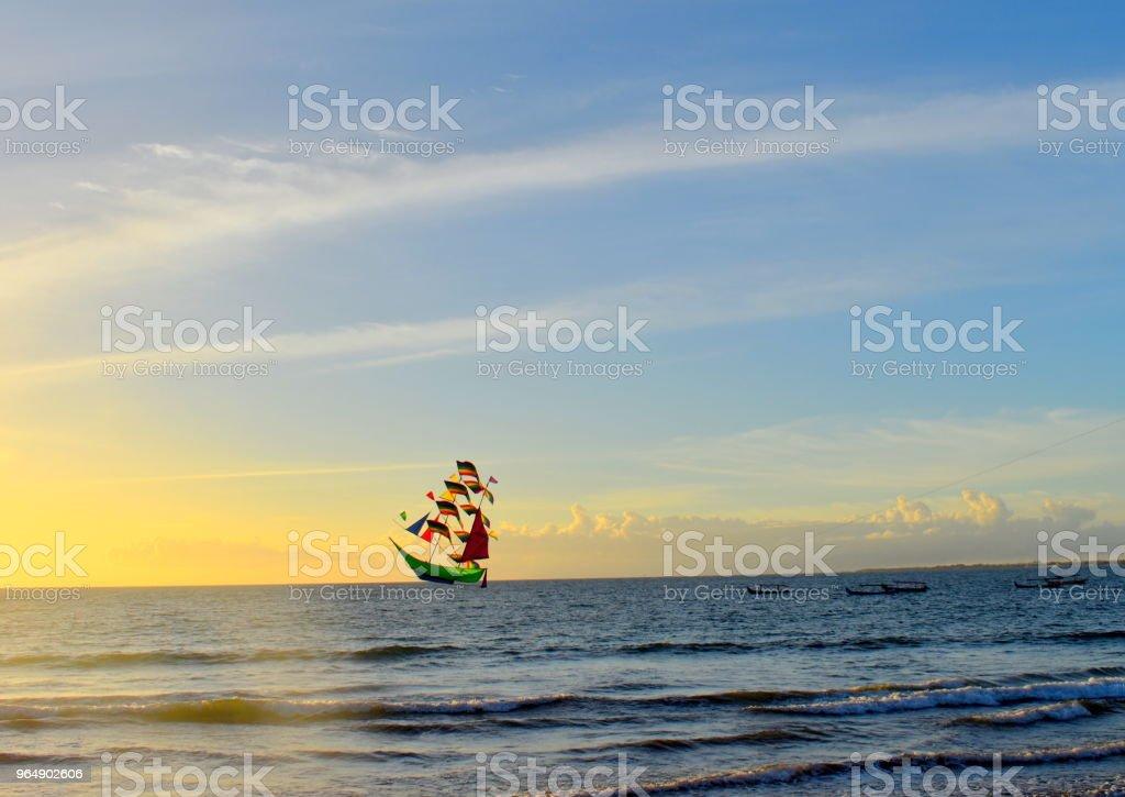 巴厘島海和風箏 - 免版稅印尼圖庫照片