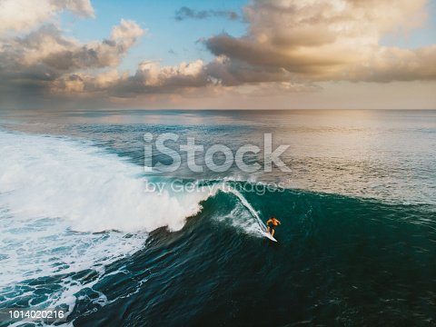 Bali Surf Zone Surfer Riding a Wave