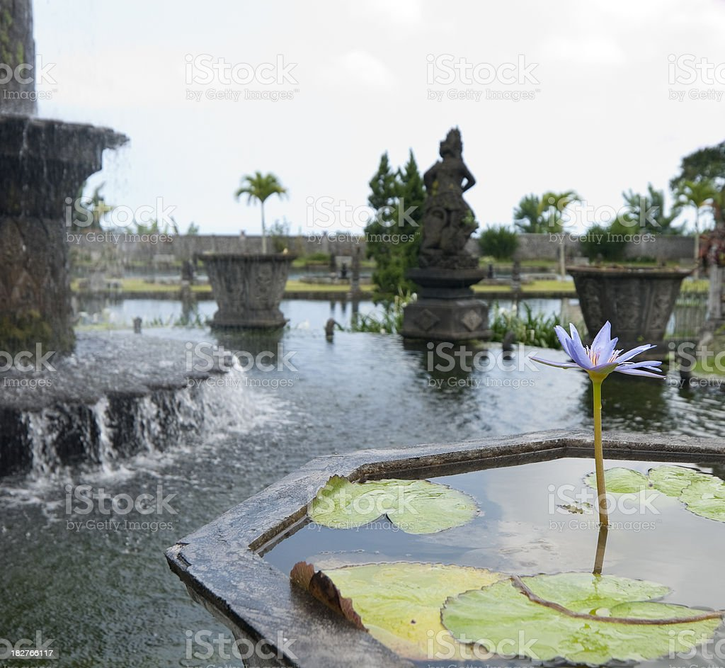Bali Water Palace Fountain And Lotus Flower royalty-free stock photo